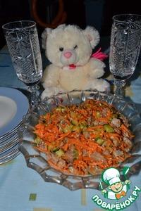 Салат из языком и соевым соусом